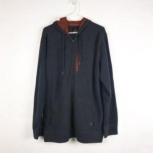 Prana Full Zip Gray Orange Cotton Hoodie XL